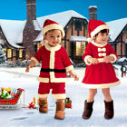 Xmas Kids Girls Boys Warm Dress Child Santa Claus Clothes Christmas Apparel +Hat