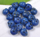 PN2133 10pcs sapphir Colour Charms Turquoise Carved Skull Head Spacer Beads 12MM