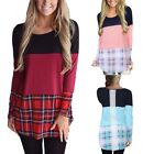 Womens Round Collar Long Sleeve Grid Ladies Cotton Blend Blouse Tops Shirts S-XL