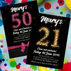 Personalised Birthday Invitations Party Invites 18th 21st 30th 40th 50th 70th