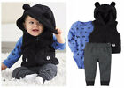 CARTERS Baby Boy 3pc Vest Bear Blue Newborn 3 6 9 12 18 24 Month