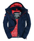 New Mens Superdry Pop Zip Hooded Technical Windcheater Jacket Nautical Navy