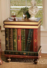 Books Wooden Side Table Lord Byron Accent Furniture Volumes Storage Drawer Doors