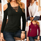 Women Lace Up Tie Cold Off Shoulder Long Sleeve Tops Blouse T Shirt Tee M-2XL