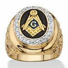14k Gold Overlay Men's 1/3ct TGW Enamel and Cubic Zirconia Masonic Nugget Ring