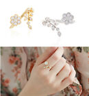 New Twisted Leaves Open Crystal Flower Ring Adjustable Exquisite Party Jewelry