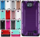 For ZTE Majesty Pro Combat Brushed Metal HYBRID Rubber Case Cover + Screen Guard