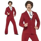 Anchorman Costume Ron Burgundy Fancy Dress 70s Newsreader Outfit Licensed New