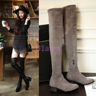 Womens Zip Over Knee Faux Suede Retro Boots Low Chunky Heels Shoes Punk Goth New
