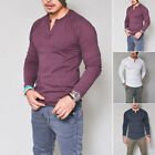 Trendy Men's Slim Fit V Neck Long Sleeve Muscle Tee T-shirt Casual Tops Blouse