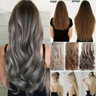 US Natural One Piece Pure/Ombre Clip in Hair Extensions Straight Wavy Weave T5D