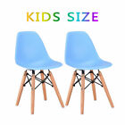 Set of 2 Kids Dining Side Chair Armless Molded Plastic Seat Wood Dowel Leg Blue