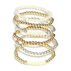 Beaded Stretch Bracelet 14k Solid Gold Yellow, White, Rose and Akoya Pearls