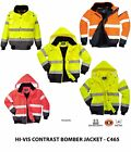 Portwest Men Hi Vis Bomber Jacket Waterproof 4 in 1 Two Tone Rain Work Coat C465