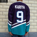 Anaheim Mighty Ducks Movie Jerseys 9 Kariya Jersey Purple Green White Throwback