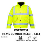 Portwest Genuine Hi Vis Bomber Jacket Protective Waterproof Zipped Coat S463
