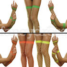 Neon Diamond Fishnet Hold Ups Stockings and Gloves Rave 80s Green Orange Yellow