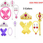 Princess Belle Dress up Party Accessory 5pcs Gift Set:Gloves,Wand,Tiara,Necklace