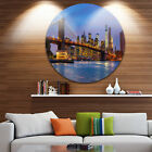 Designart 'Brooklyn Bridge with Lights and Reflections' Cityscape Disc Metal