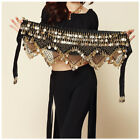 New Belly Dance Costume Hip Scarf Tribal Triangle Belt Skirt Velvet Gold Coins
