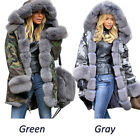 Fashion Women Winter Warm Long Coat Fur Collar Hooded Quilted Jacket Outwear