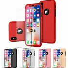 Ultra Thin Hard Case Cover For iPhone X w/ Tempered Glass Screen Protector