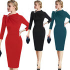 Womens Pleated Asymmetric Bow Neck 3/4 Sleeve Work Cocktail Party Sheath Dress