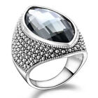 Retro Gray Glass Silver Oxide Rings for Women Statement Big Cocktail Ring R805