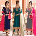 Indian Pakistani Salwar Crepe Kameez Ethnic  Embroidery Designer WeddingWear FIN