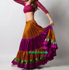 Golden Violet Red Olive Green Satin 6 Yard Tiered Gypsy Skirt Belly Dance