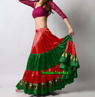 Red Green Olive Green Satin 6 Yard Tiered Gypsy Skirt Belly Dance
