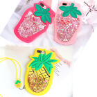 3D Pineapple Strawberry Liquid Glitter Silicone Case Cover For iPhone 6 7 8 Plus