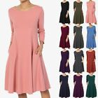 TheMogan S~3XL Women's 3/4 Sleeve Stretch Cotton Pocket A-line Fit & Flare Dress
