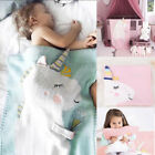 US Stock Newborn Baby Fleece Blanket Pram Crib Moses Basket Blue Pink Unicorn