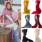 Scarf And Hat One-piece Women Girl Warm Knitted Scarves Knit Hoodie Cap Winter