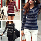 Fashion Women Striped Slim Blouse Top Casual Pullover Warm Bottoming Shirt
