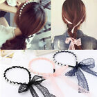 Hot Arrival Girl Cloth Lace Bow Straps Hairband Pearl Headband Hair Accessories