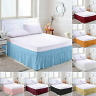 Solid Color Elastic Bed Skirt Hollow Ruffle Bed Cover Twin Full Queen King Size image
