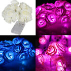 Rose Flower Fairy String Lights 20LED Wedding Garden Party Christmas Decoration