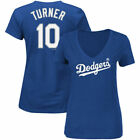 Los Angeles Dodgers Majestic MLB Womens Vneck Name And Number T-Shirt