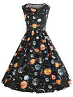 Women's Retro 1950s Space Planet Print Vintage Party Dress Midi Sleeveless Dress