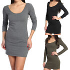 TheMogan Plain Fitted Long Sleeve Scoop Neck Stretch Cotton Dress