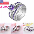 US Women 925 Sterling Silver Zircon Crystal Wedding Engagement Jewelry Ring Set
