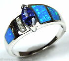 Tanzanite & Blue Fire Opal Inlay Solid .925 Sterling Silver Ring size 8 or 9