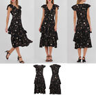 Women Floral Short Sleeve Dress Frill Hem Evening Cocktail Party Midi Dress UK