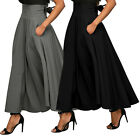 Women Stretch High Waist Skater Flared Pleated Swing Long Skirt Dress With Belt