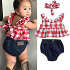 USA Summer Baby Girl Clotehs 3Pcs Outfits Set Dress Tops+Denim Pants+Headband