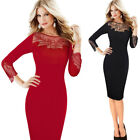 Womens Sexy See Through Mesh Embroidery Cocktail Party Club Pencil Sheath Dress