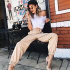 Women Fashion Pocket Chain High Waist Elastic Bind Feet Clubwear Casual Pants