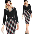 Womens Vinage Contrast Patchwork Lapel Peplum Work Office Business Sheath Dress